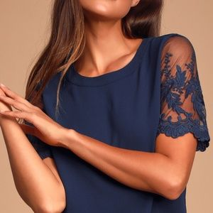 Lulu's Lisa marie Embriodered Sleeve Navy Blouse S